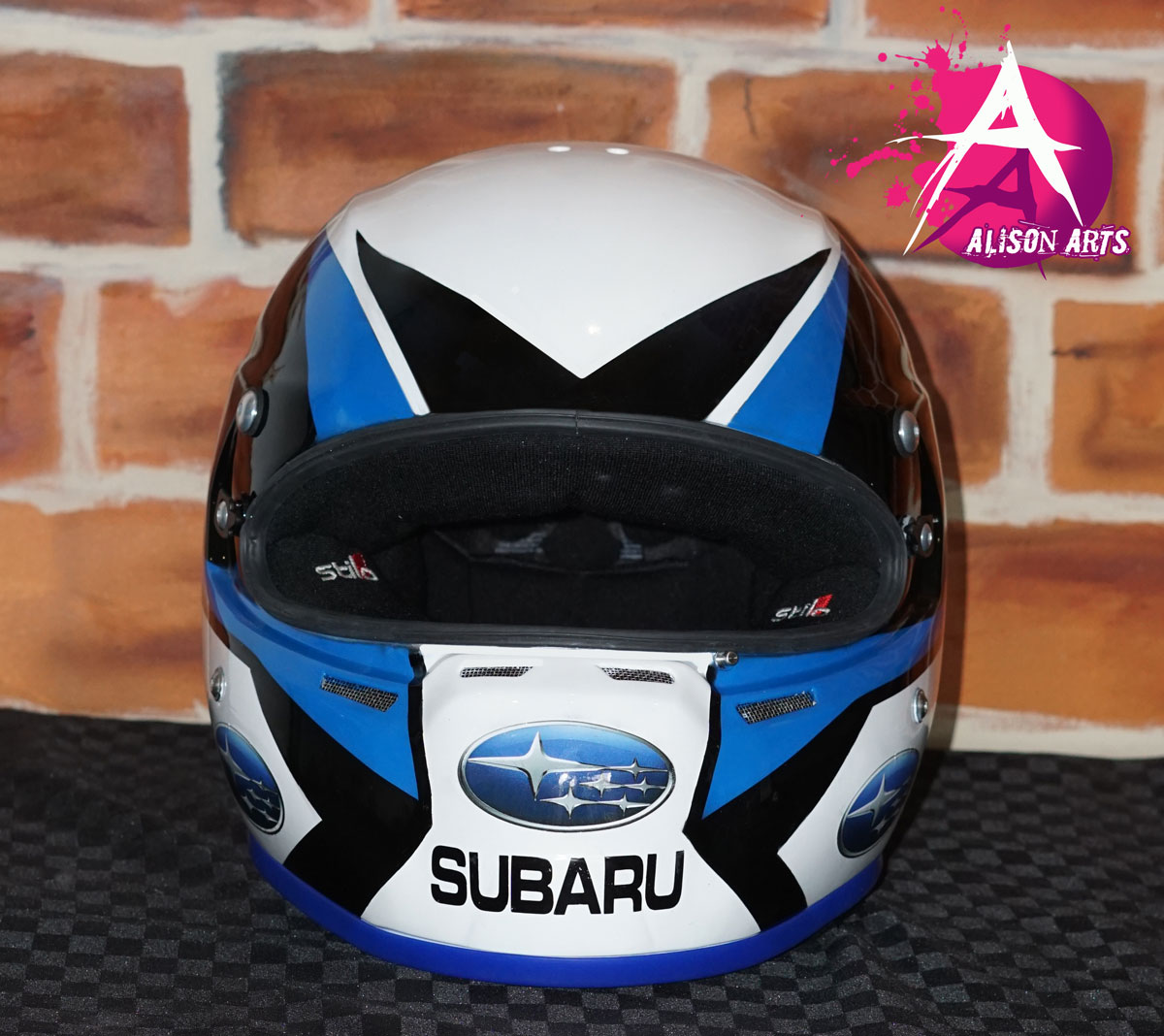 custom airbrushed WRX helmet