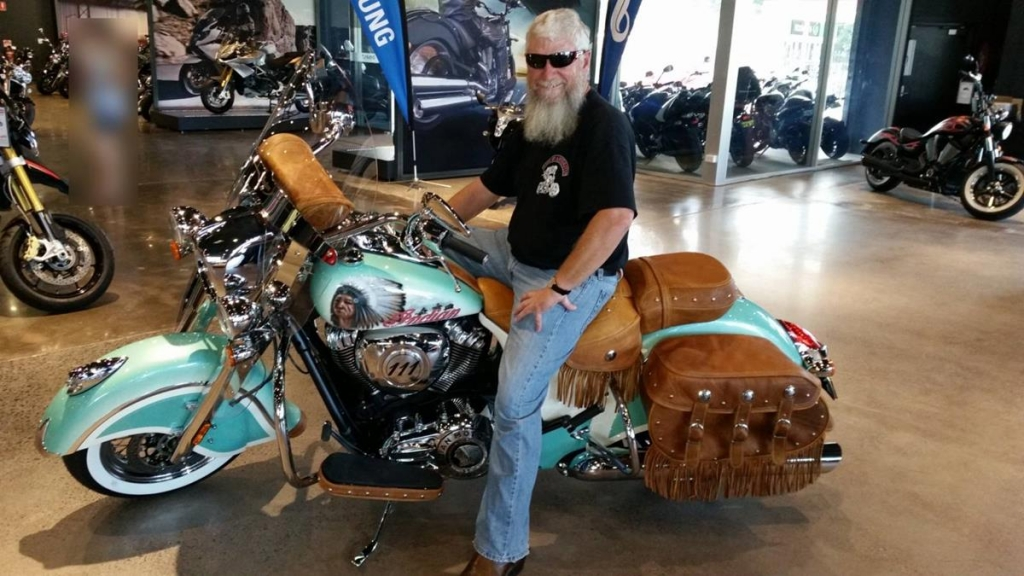 Glen and his custom painted indian bike