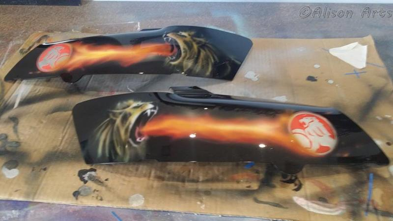 Custom airbrush painted Holden Commodore light covers