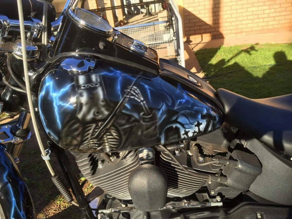 Ned Kelly Reaper airbrushed Harley