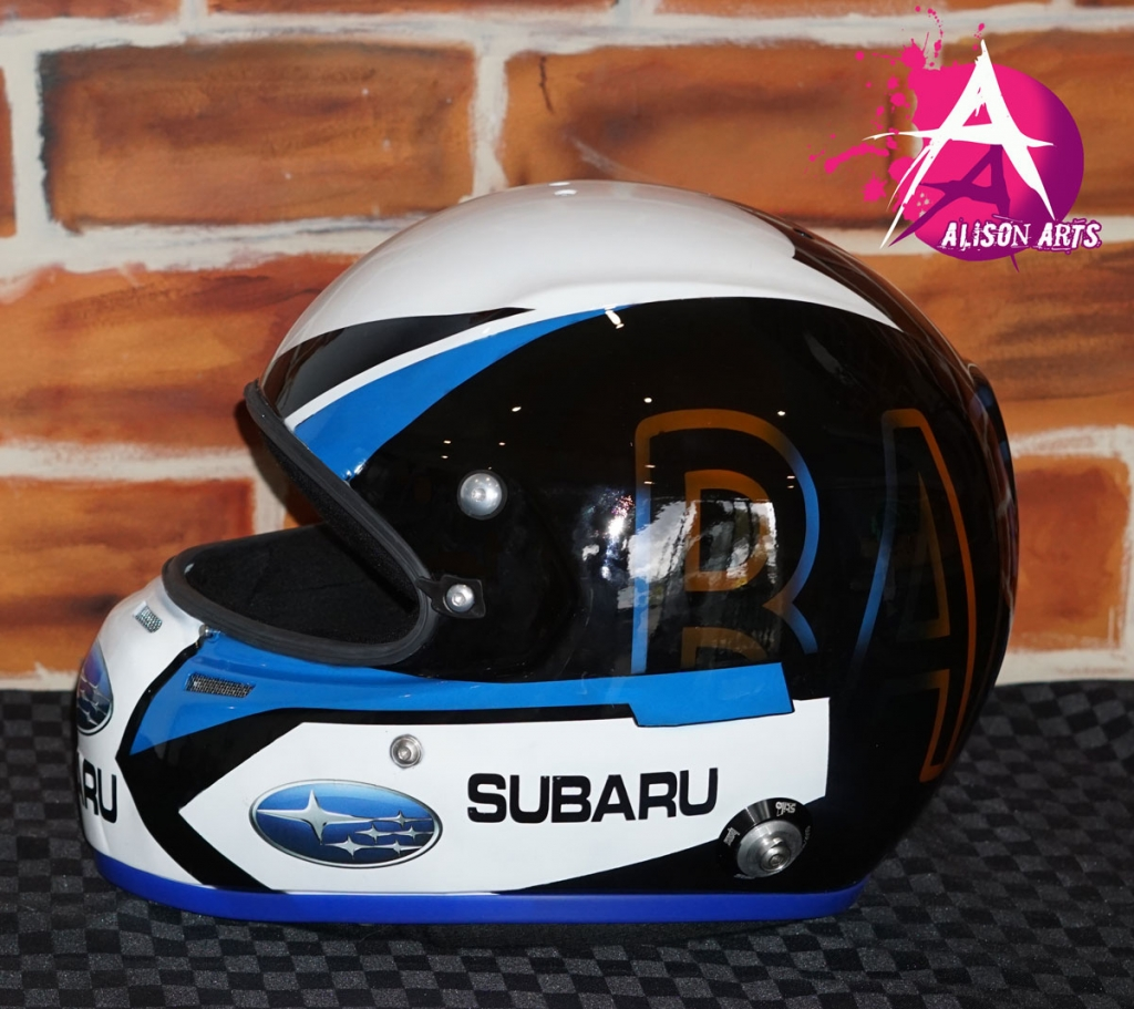 Custom painted Subaru WRX helmet