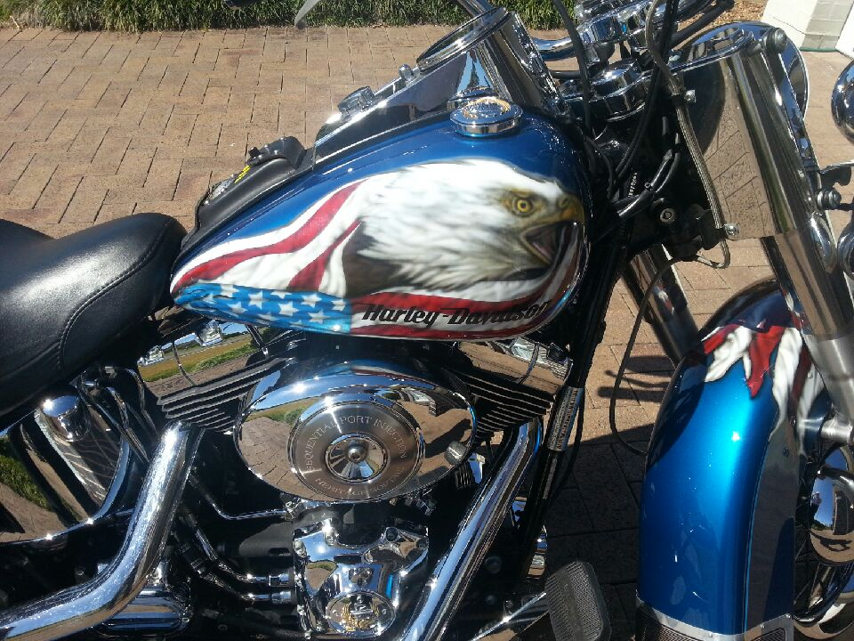 American flag and Eagle themed Harley Davidson