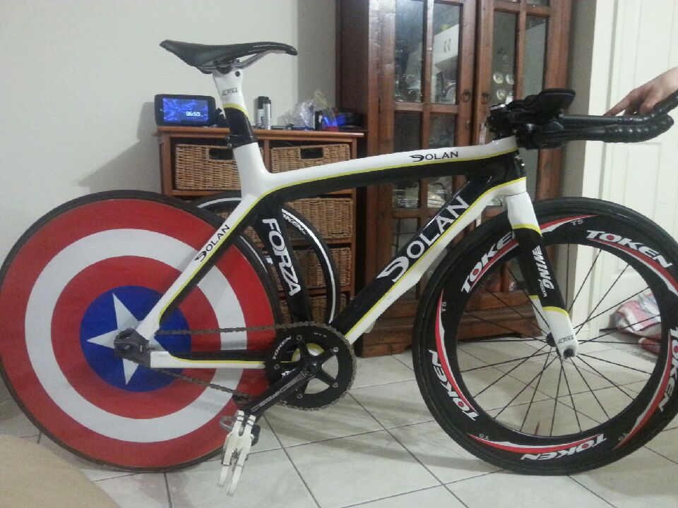custom painted bike wheel captain america shield