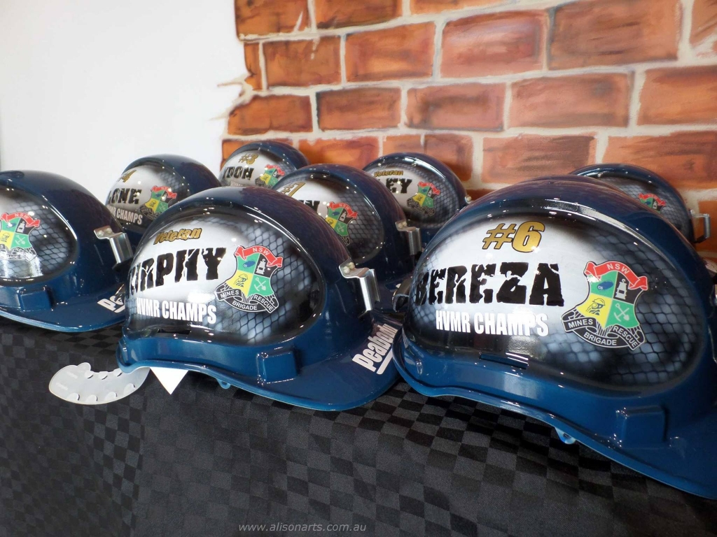 Custom airbrushed mine rescue hard hats