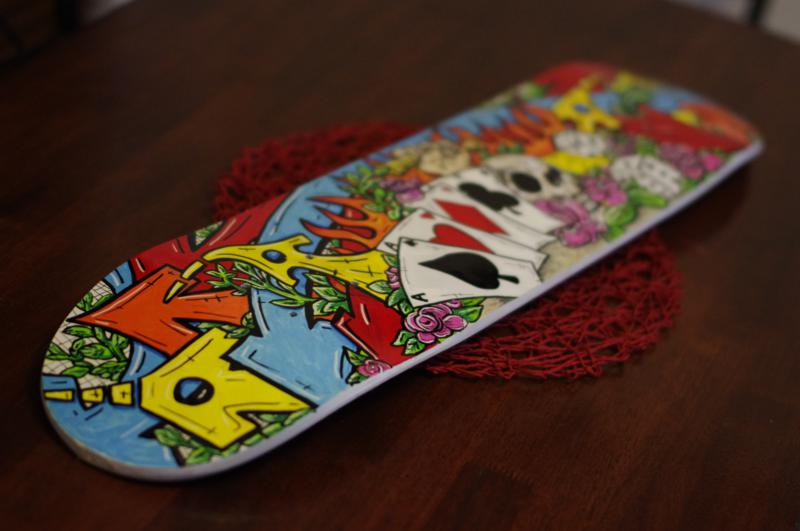 custom painted skateboard deck