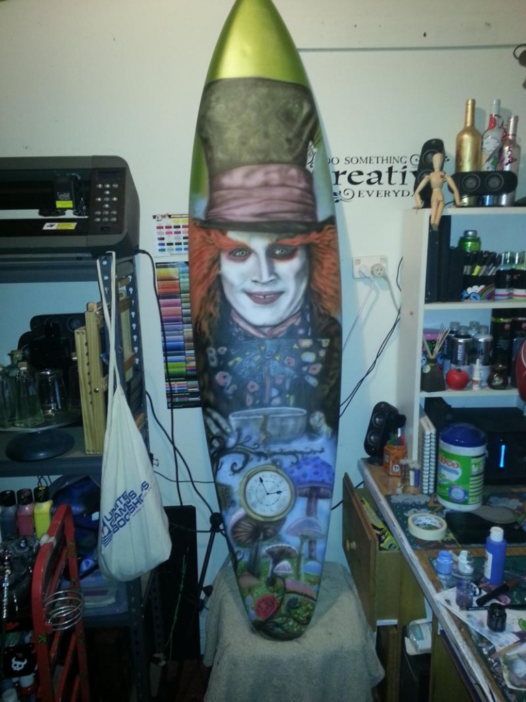 mad hatter airbrushed surfboard