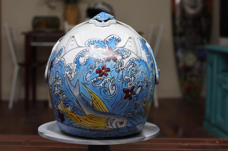 Custom painted helmet - Flying fish design