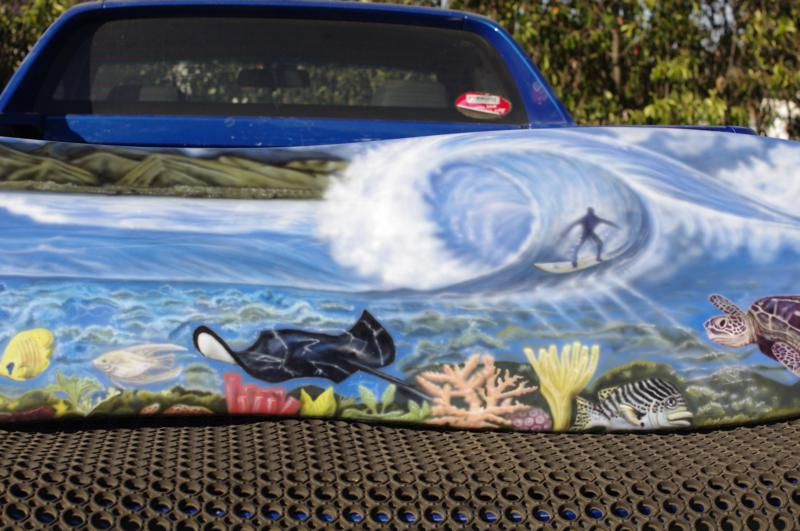 Airbrushed surfboard