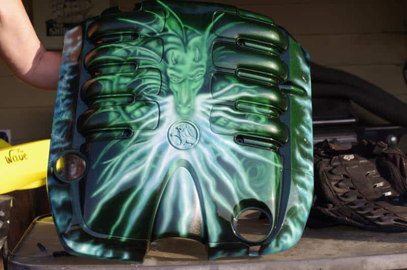 custom airbrushed engine cover- metal flake dragon