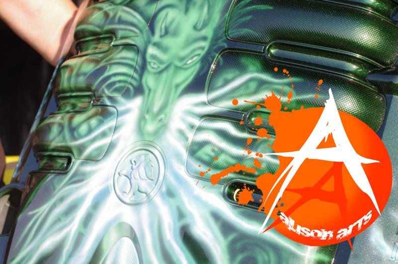 airbrushed dragon on engine cover