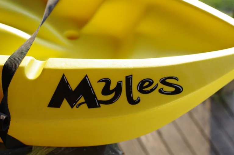 Name airbrushed on Kayak