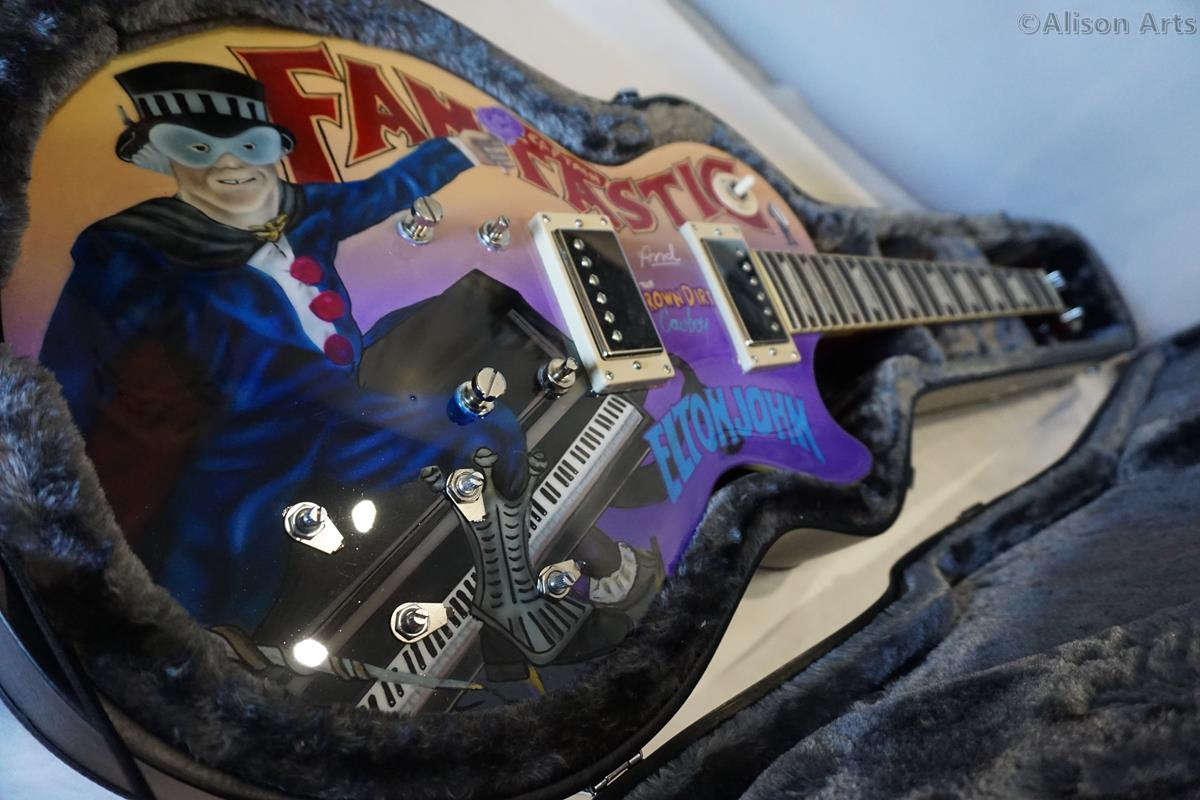 custom painted elton john guitar