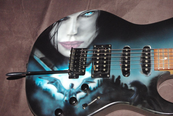airbrushed custom painted underworld guitar