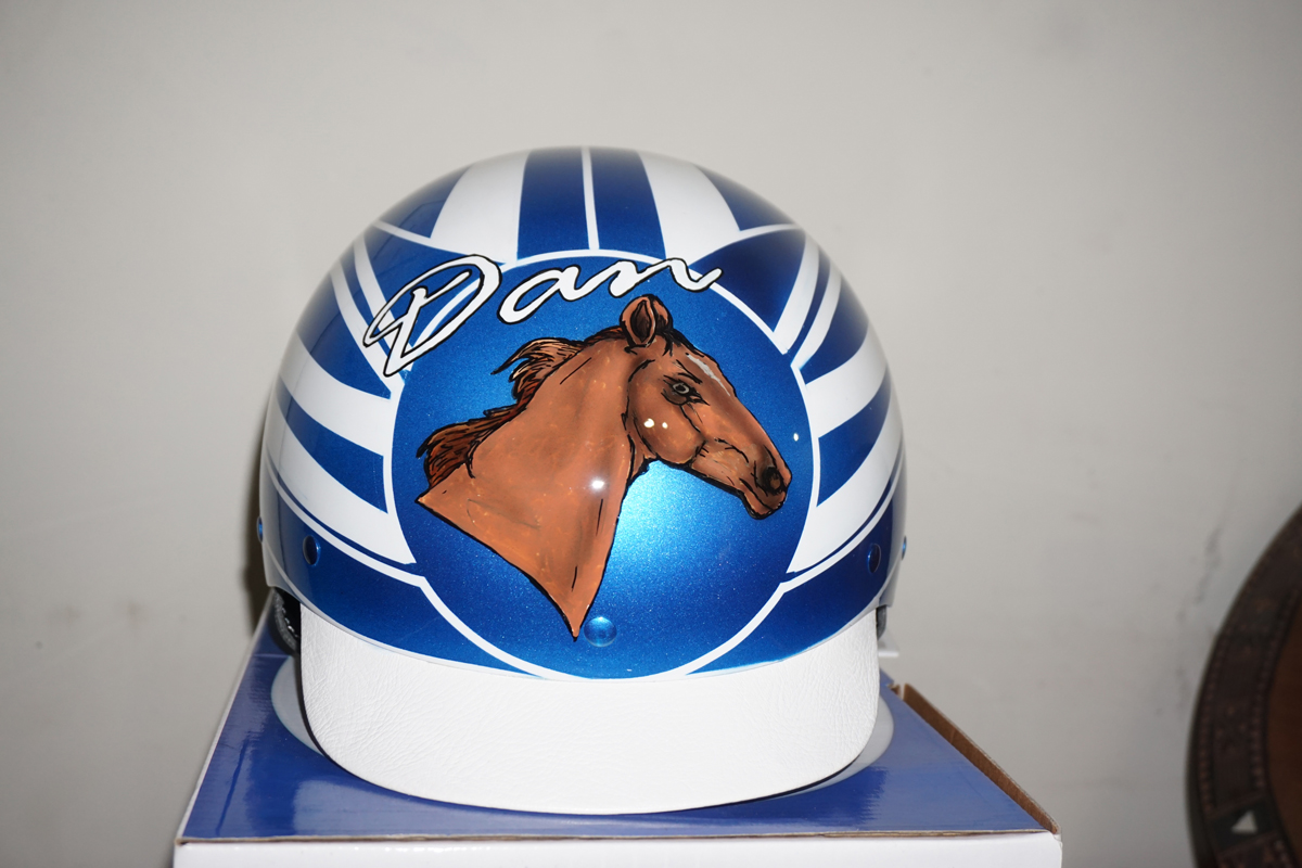 Custom painted Horse trotting helmet