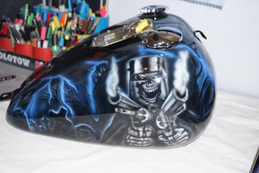 Ned Kelly Reaper airbrushed Harley tank