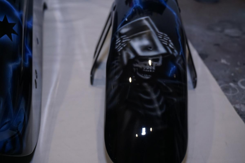 Ned Kelly Reaper airbrushed Harley front guard