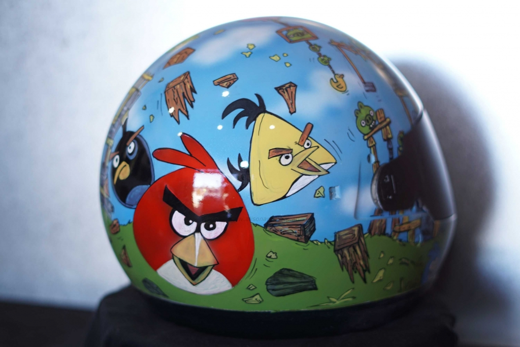 angry birds custom airbrushed helmet