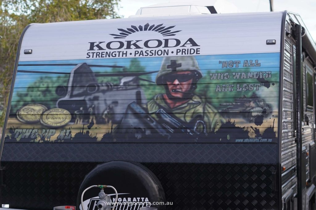 Custom airbrushed Kokoda caravan