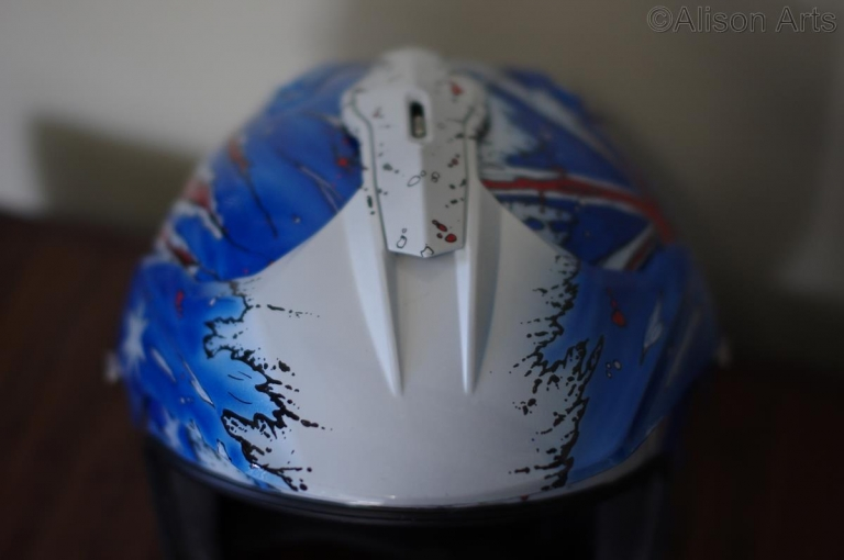 Custom airbrushed adventure bike helmet