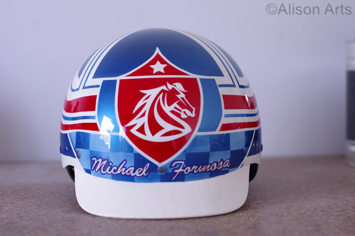 Custom airbrushed trotting helmet