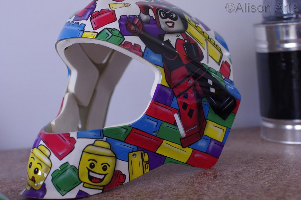Airbrushed lego on mask