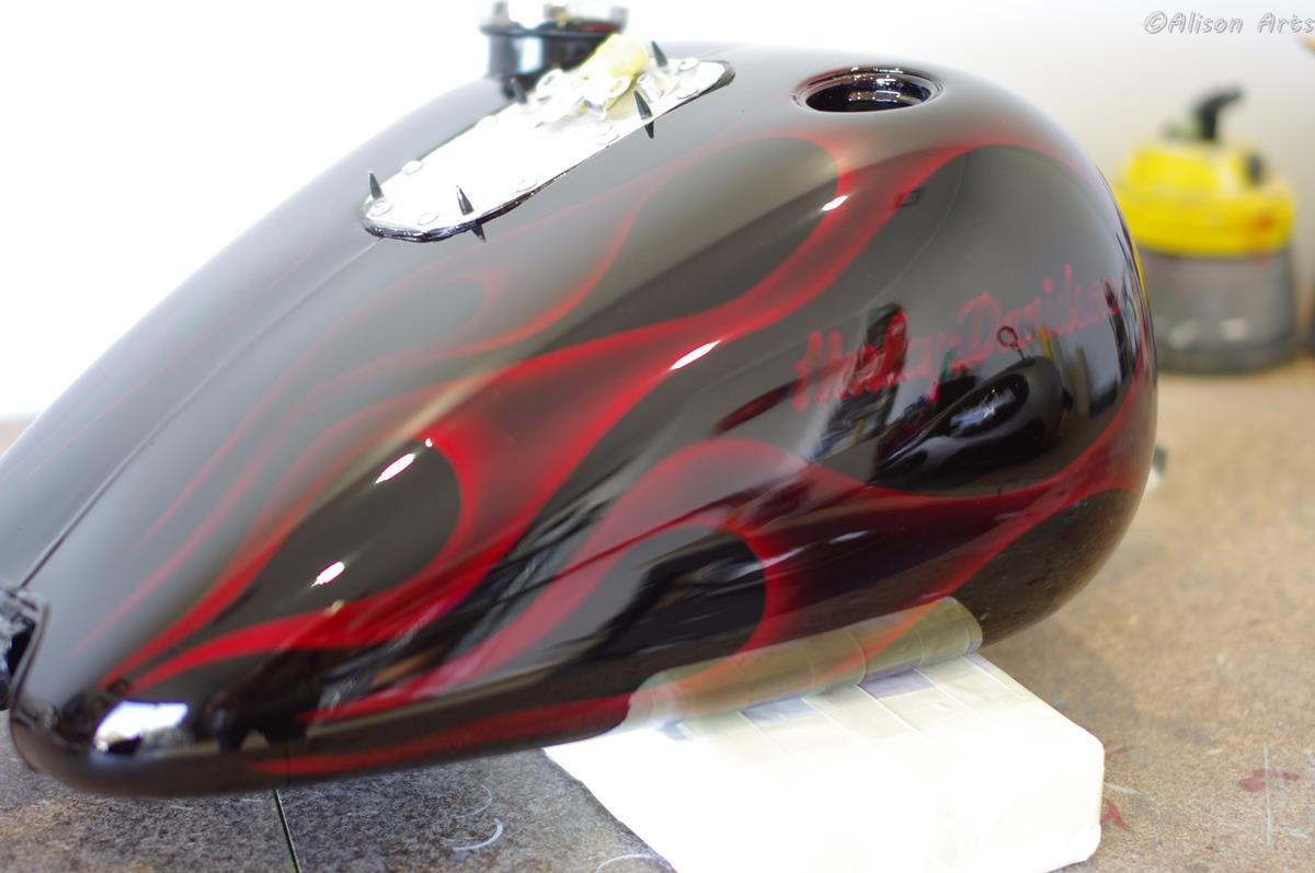 airbrushed custom Red Candy flames harley