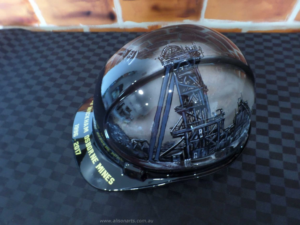 osborne mine custom airbrushed hard hat helmet