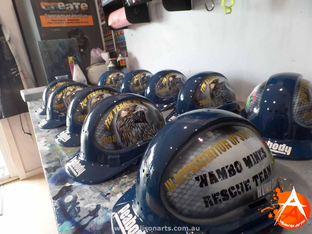 Custom airbrushed hard hats