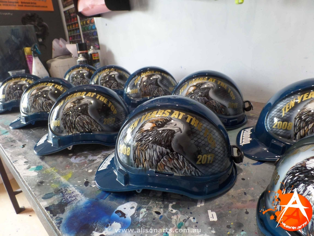 Mine Rescue custom painted hard hats