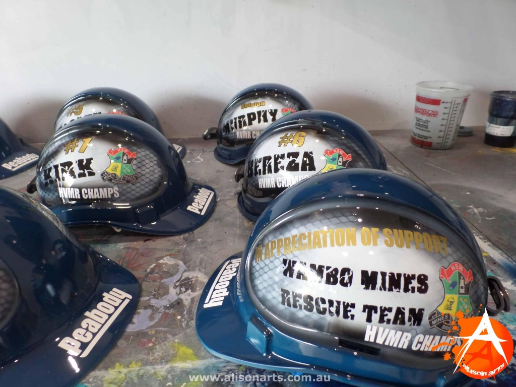 Wambo custom painted hard hats
