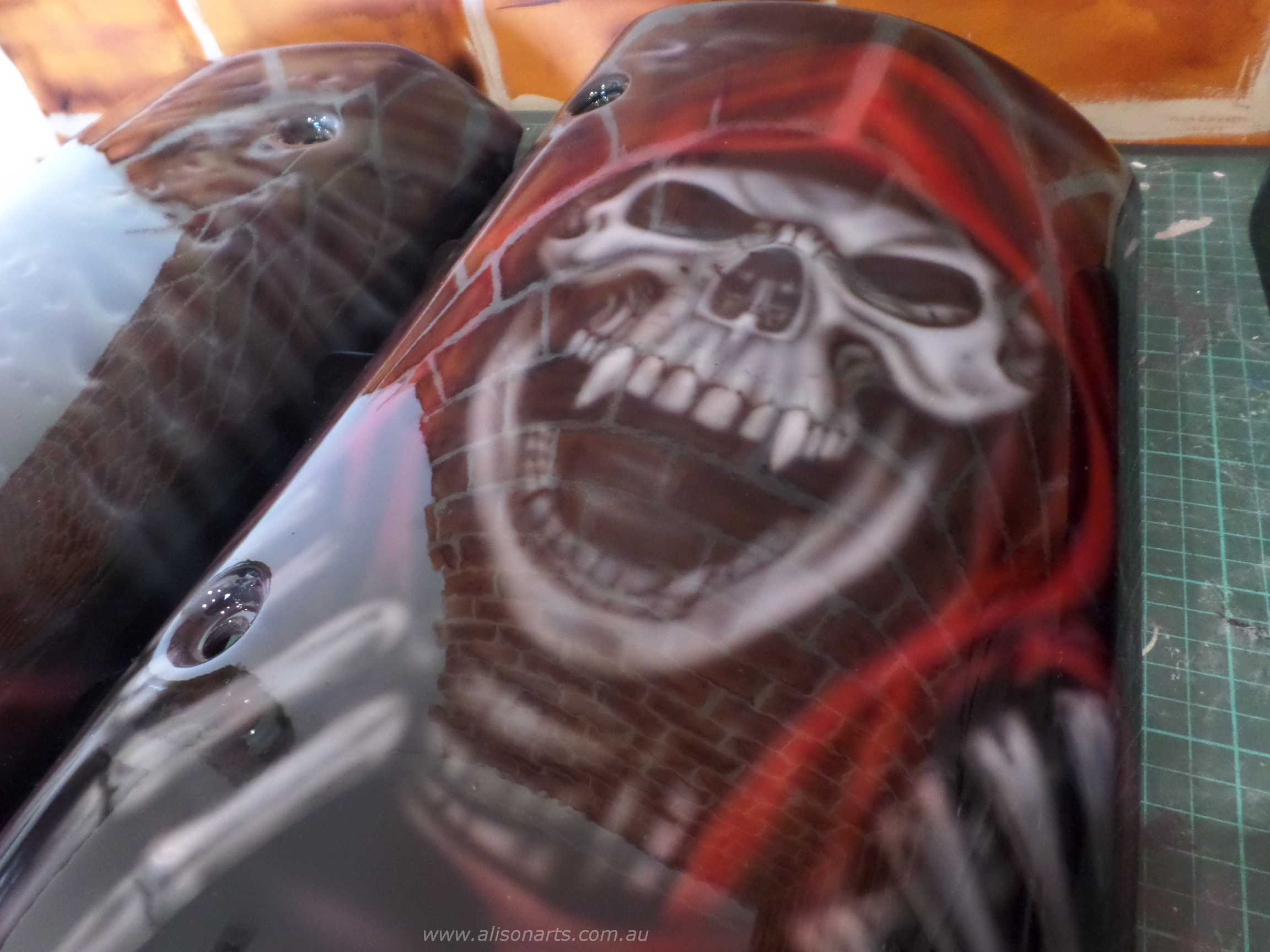 custom painted vampire skull engine covers