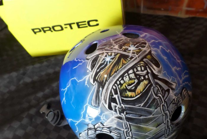 custom iron maiden painted skate helmet