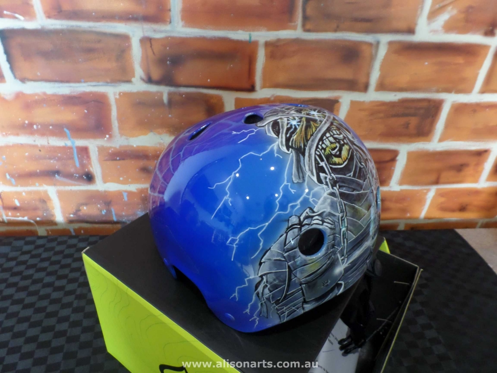 Custom airbrushed protec skate helmet - iron maiden