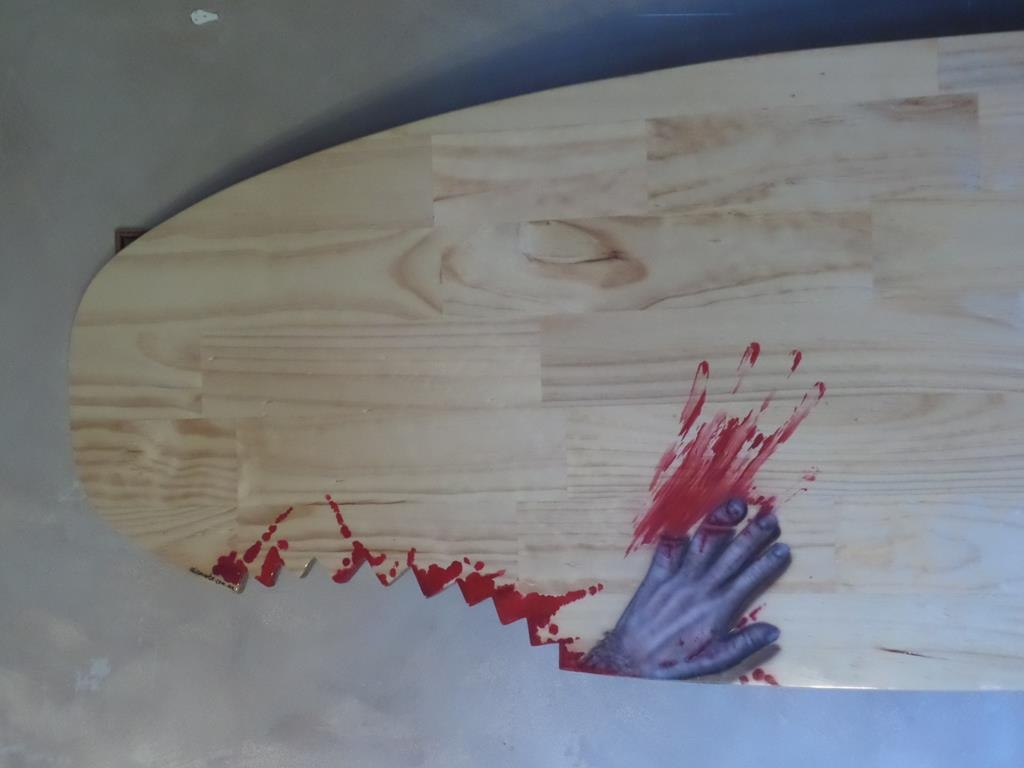 Custom airbrushed timber surfboard shaped bar table top