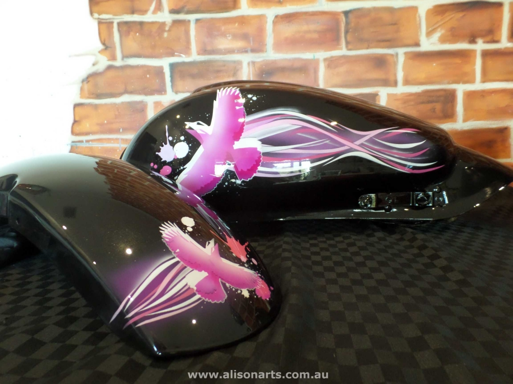 Custom airbrushed Kawasaki motorcycle - pink bird