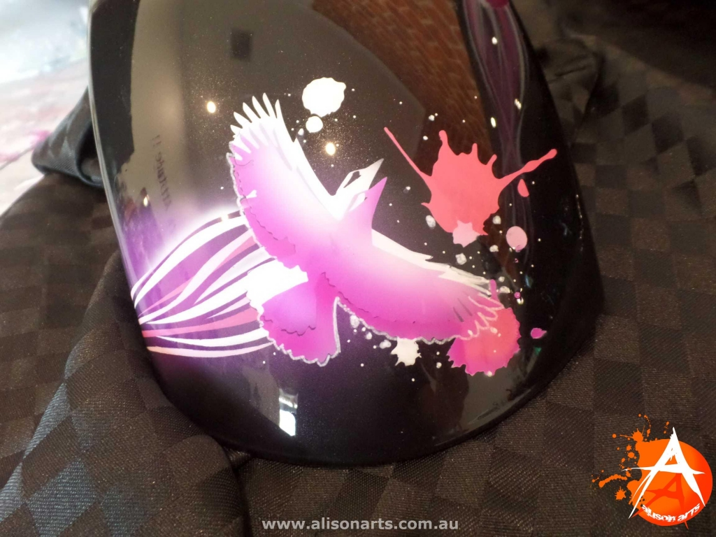 Airbrushed Kawasaki - pink girls bird design
