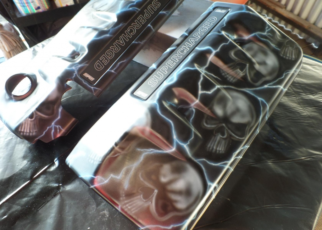 Airbrushed holden commodore engine cover