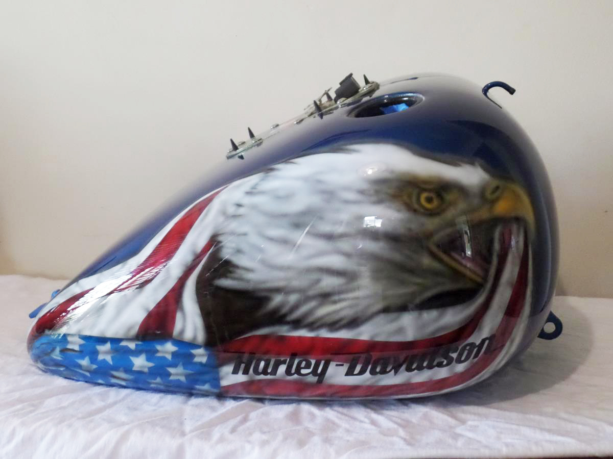 Custom Airbrush Eagle And Flag Harley Davidson
