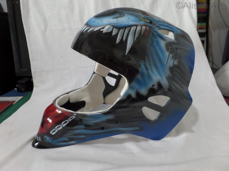 Ice hockey mask airbrushed