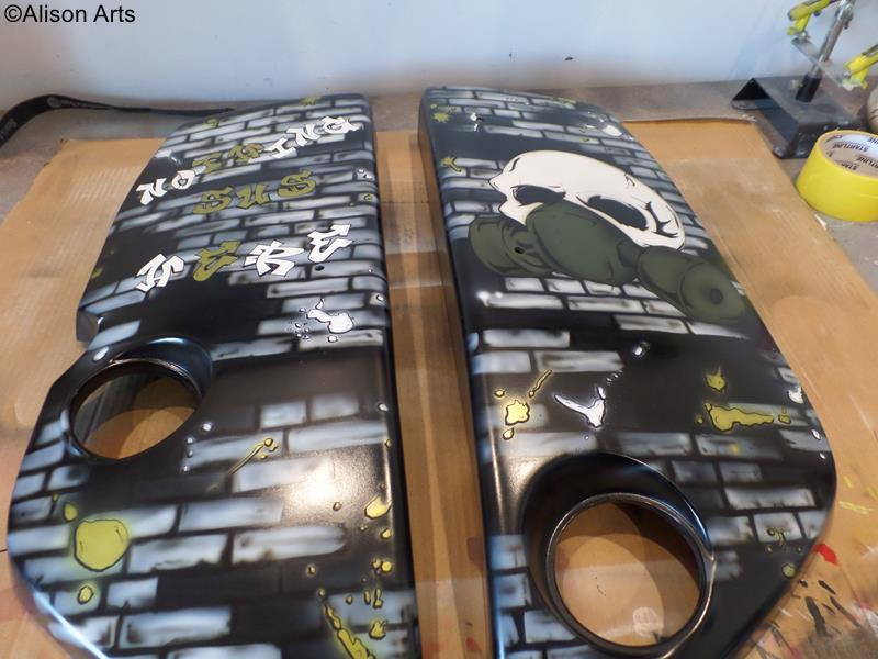 custom graffiti themed airbrushed engine covers