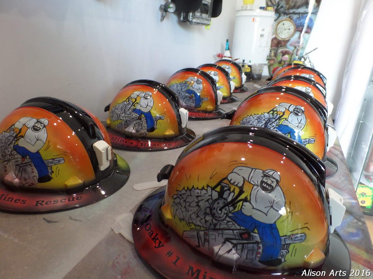 Custom painted mine rescue helmets