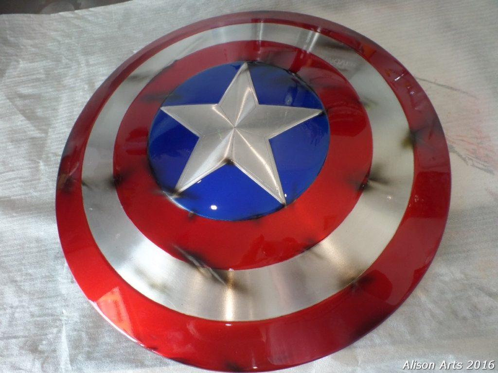 custom airbrushed captain america prop shield