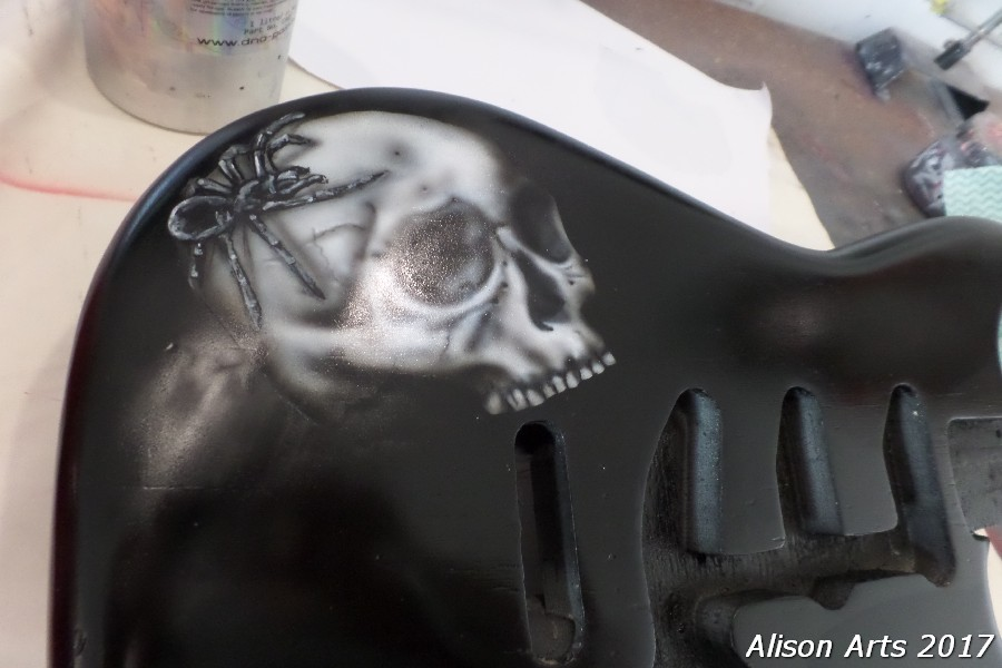 Custom airbrushed spider guitar