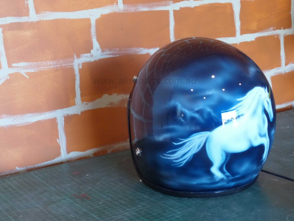airbrushed helmet- unicorn design