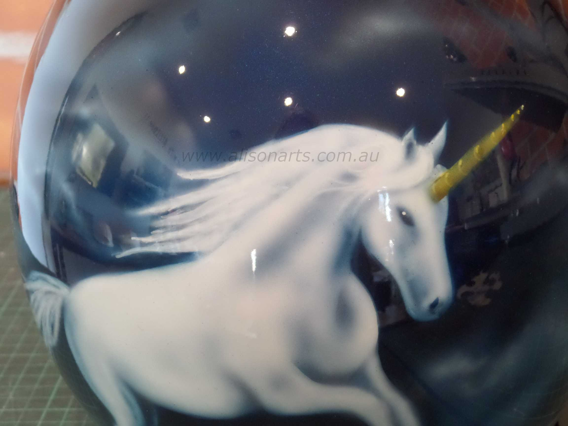 custom painted helmet airbrushed unicorn
