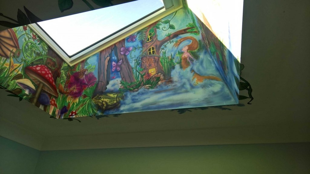 Custom airbrushed wall mural skylight bedroom