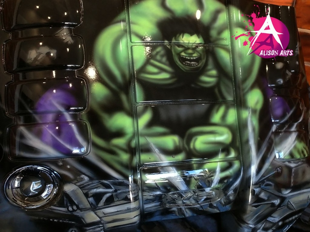Custom airbrushed hulk engine cover