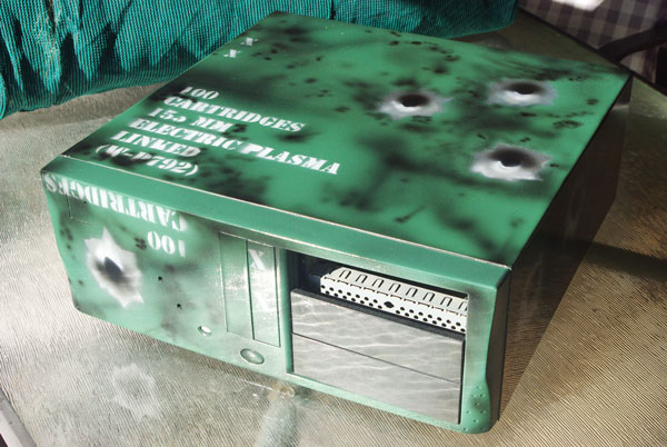 Ammo box themed PC case - front view