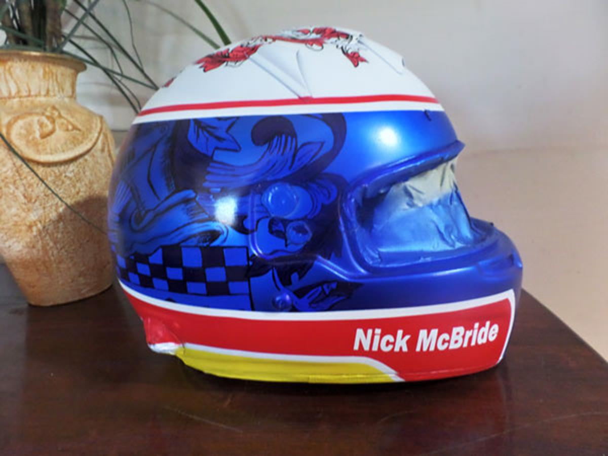 custom painted race helmet