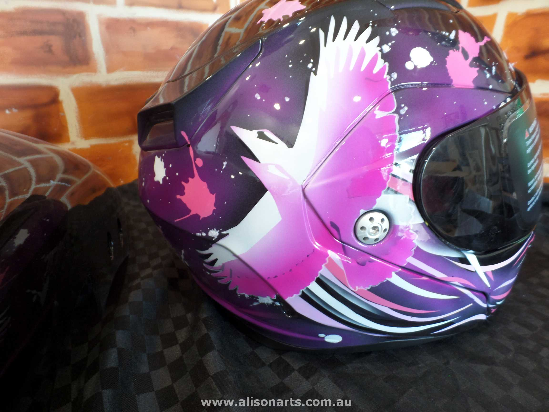 custom painted helmet pink birds